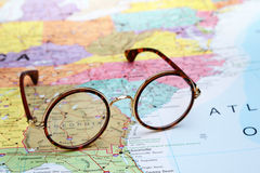 Glasses on a map of USA - Georgia Royalty Free Stock Photo