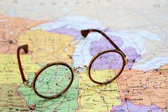 Glasses on a map of USA - Illinois Royalty Free Stock Image
