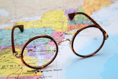 Glasses on a map of USA - Maryland Stock Photo
