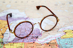 Glasses on a map of USA - Michigan Royalty Free Stock Image