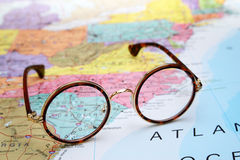 Glasses on a map of USA - South Carolina. Photo of glasses on a map of USA. Focus on South Carolina. May be used as illustration for traveling theme royalty free stock photo