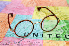 Glasses on a map of USA - Utah Royalty Free Stock Photography