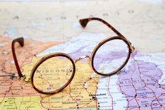 Glasses on a map of USA - Wisconsin Stock Photo