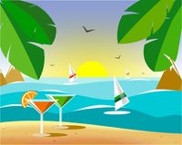 Glasses with martinis on the sand with a view of windsurfing stock illustration