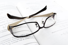 Glasses on Mathematics Book Stock Photo