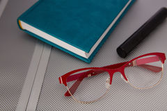 Glasses on a metallic background royalty free stock photo