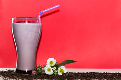 Glasses of milk cocktail with strawberry, ice cream on wooden plate and red background. Sweet drinks for summer concept. Stock Photos
