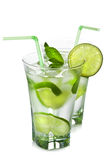 Glasses of mojito isolated Royalty Free Stock Image