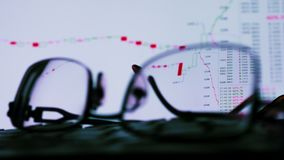 Glasses and monitor with trade exchange data. Online trading. stock video