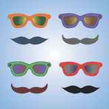 Glasses and moustache. Colourful bright glasses and moustache. Vector Royalty Free Stock Photos