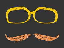 Glasses and moustache Stock Images