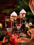 Glasses of mulled wine decorated with Christmas cookies. Royalty Free Stock Photography