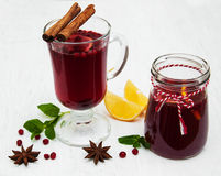 Glasses of mulled wine with lemon and cranberries Royalty Free Stock Photo