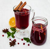 Glasses of mulled wine with lemon and cranberries Royalty Free Stock Photography