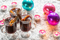 Glasses of mulled wine in snow Royalty Free Stock Image