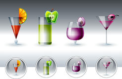 Glasses with multicolor cocktails. And fruits Stock Image