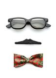 Glasses, mustache and bow-tie forming man face Royalty Free Stock Image