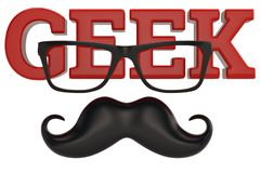 Glasses and mustache geek logo isolated on white background 3D i. Llustration vector illustration