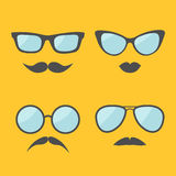 Glasses and mustache lips moustaches face icon set.  Isolated Yellow background. Flat design Stock Images