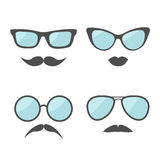 Glasses and mustache lips moustaches face icon set.   White background. Flat design Stock Images