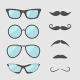 Glasses and mustache moustaches icon set.  White background. Royalty Free Stock Photo
