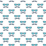 Glasses and mustache seamless pattern. Glasses and mustache on white background seamless pattern Royalty Free Stock Images