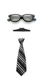 Glasses, mustache and tie forming man face Stock Image