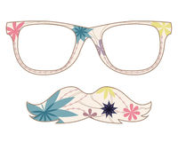 Glasses and mustache Royalty Free Stock Images