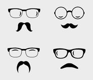 Glasses and mustaches set Royalty Free Stock Photo
