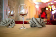 Glasses and Napkins Stock Image