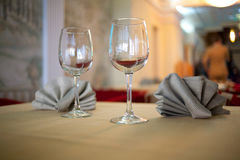 Glasses and Napkins Royalty Free Stock Photos