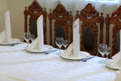 Glasses and napkins on table Stock Images
