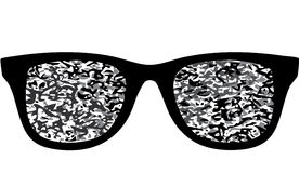 Glasses . noise on  screen. blind . no signal.tv.do not see . Stock Images