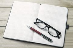 Glasses and notes Royalty Free Stock Photography