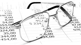 Glasses with numbers Stock Photography