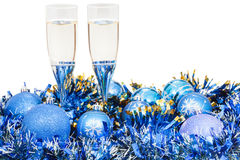 Free Glasses Of Champagne At Blue Christmas Decorations Stock Images - 56823084