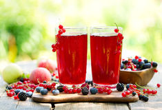 Glasses Of Fresh Fruit Drinks With Fresh Berries Royalty Free Stock Image