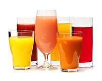Glasses Of Various Juices Royalty Free Stock Images