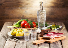 Glasses Of Vodka With Traditional Snack Stock Image