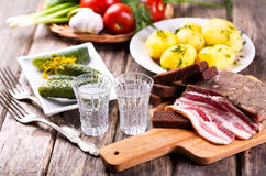 Glasses Of Vodka With Traditional Snack Stock Photography