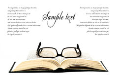 Glasses on open book royalty free stock images