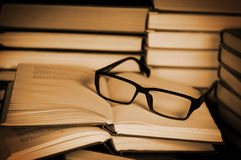 Glasses on open book. Royalty Free Stock Photography