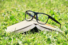 Glasses and an open book on a meadow. Glasses and an open book laid down on a green grass Stock Photo