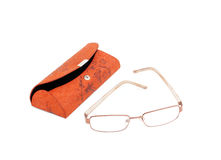Glasses and an open carrying case for glasses Stock Photo