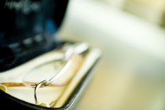 Glasses in an open case. With cleaning cloth Royalty Free Stock Image
