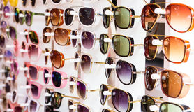 Glasses in opticians shop Royalty Free Stock Photo