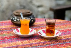 Orange and apple Turkish tea Stock Images