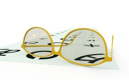 Glasses on Oriental chart. Pair of glasses or spectacles on oriental chart of letters or hieroglyphs, white background Stock Photo