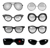 Glasses outline. Collection of black and white  retro fashion glasses, set of cartoon comic glasses of different famous persons Stock Images