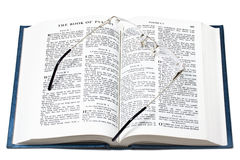 Glasses over open bible Royalty Free Stock Photography